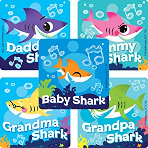 Baby Shark Stickers - Prizes 100 per Pack