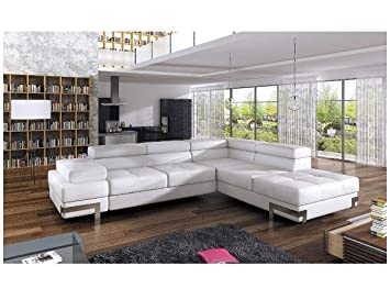 Astounding Bmf Emporio White Modern Corner Sofa Chrome Legs Bed Storage Faux Leather Or Fabric Right Facing 275Cm X 223Cm Home Interior And Landscaping Spoatsignezvosmurscom