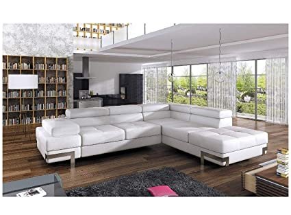 Enjoyable Bmf Emporio White Modern Corner Sofa Chrome Legs Bed Storage Faux Leather Or Fabric Right Facing 275Cm X 223Cm Cjindustries Chair Design For Home Cjindustriesco