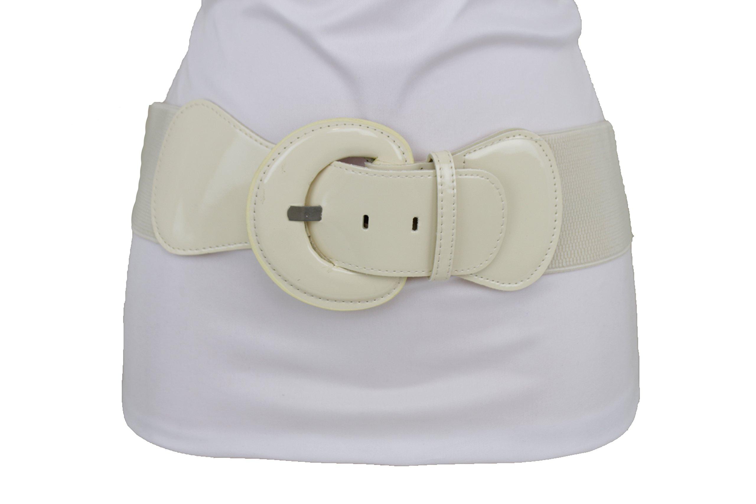 TFJ Women Fashion Wide Elastic Belt High Waist Hip Cream Color Plus Size M L XL