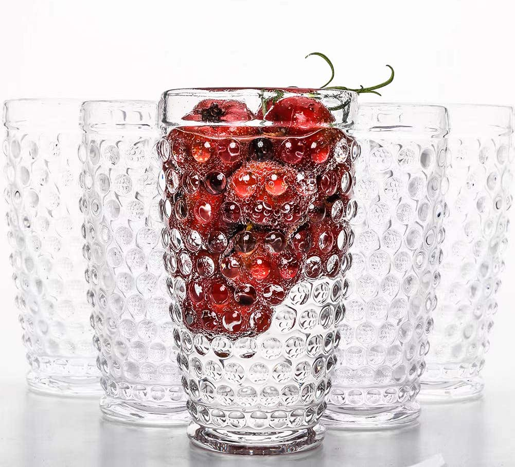 Haidio Highball Hobnail Glasses Set of 6 Tall Drinking Glasses,13oz Lead-free Crystal Glassware.Ideal Glass Cup for Bar,Whiskey,Iced Tea,Cocktails,Fruit Juice Beverage and Drinking Water.