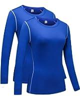 Women's Compression Shirt Sport Performance Crewneck Long-sleeve T Shirt