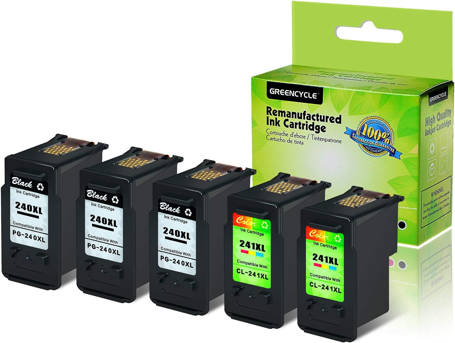 Tri-Color, 1 Pack GREENCYCLE Re-Manufactured CL-241XL 241 XL Ink Cartridge Compatible for Canon PIXMA MG3620 MG3520 MG2220 MX392 MX432 MX452 MX472 MX512 MG3522 MX522 MX532