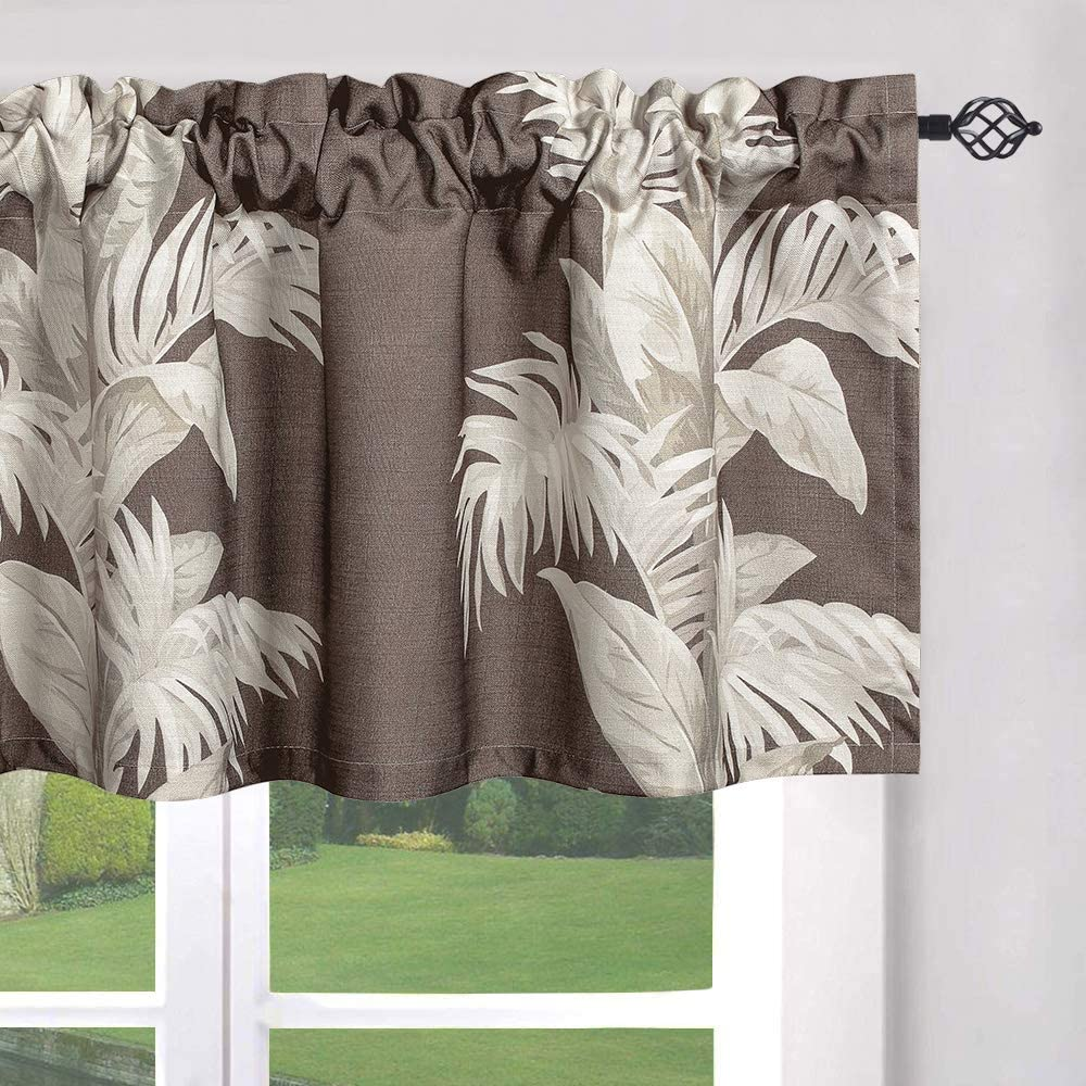 Amazon Com Leeva Kitchen Valances For Bedroom Windows Print Valance Top Rod Window Treatment Spring Style Small Drapes For Porch Dorm And Dining Room One Panel 52x18 Brown Furniture Decor