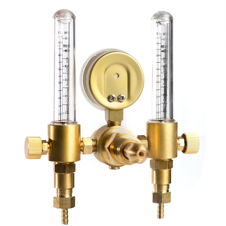 Regulator 0-60CFH CGA580 Inlet 5//8 UNF-18RH Outlet 1YR Warranty SPARC Dual Output Argon MIG TIG Flow Meter