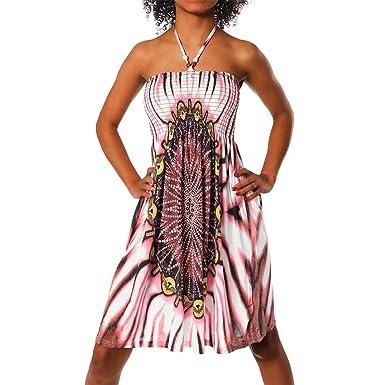 39b87106fc H112 Robe d'été à motifs aztèques - Robe de plage multicolore à bandeau -