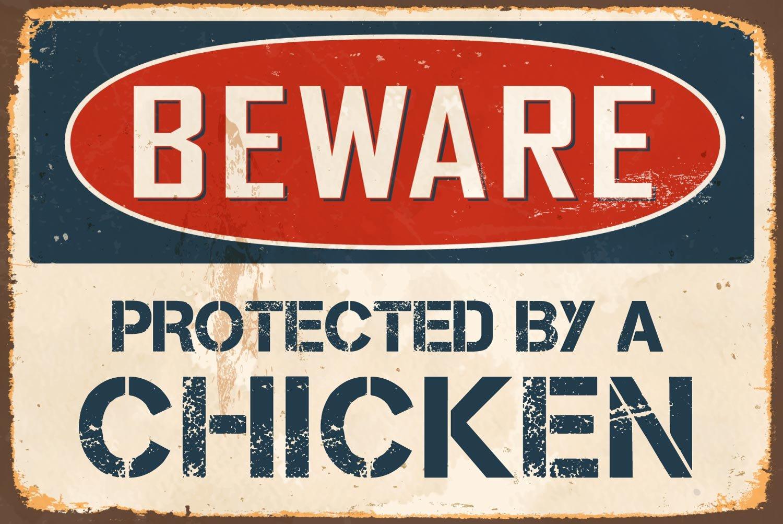Attention prot/ég/é par une Poule 20,3/x 30,5/cm vintage r/étro en m/étal en aluminium Sign Vs480