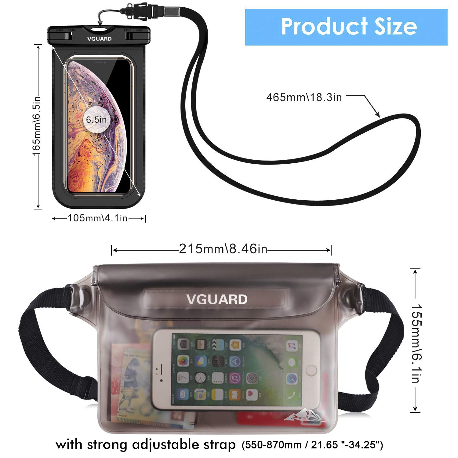Dust and Dirt. VGUARD Waterproof Pouch Bag Sand Cash,Passport Phone Case Camera Document from Water Snow Waterproof Case Dry Bag for Beach,Swim,Boating,Kayaking,Hiking,Protects Iphone Phone