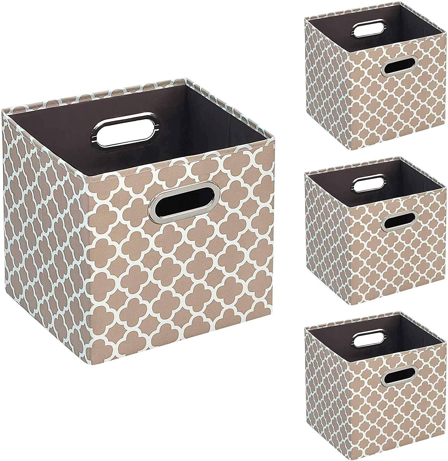 BRIAN & DANY Storage Boxes,Foldable Storage Cubes,Set of 4, Beige
