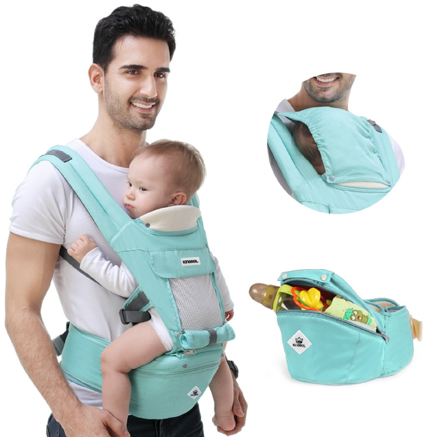 360 Ergonomic Baby Carrier Adjustable Backpack with Hip Seat,12 Positions All Seasons Summer,Baby Diaper Bag with Large Capacity,Breathable Mesh Safe Comfortable,for Infant/Toddler/Newborn,Light Green