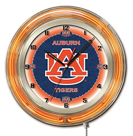 NCAA Mens Double Neon Ring Holland Bar Stool Co 15 Dia Logo Clock