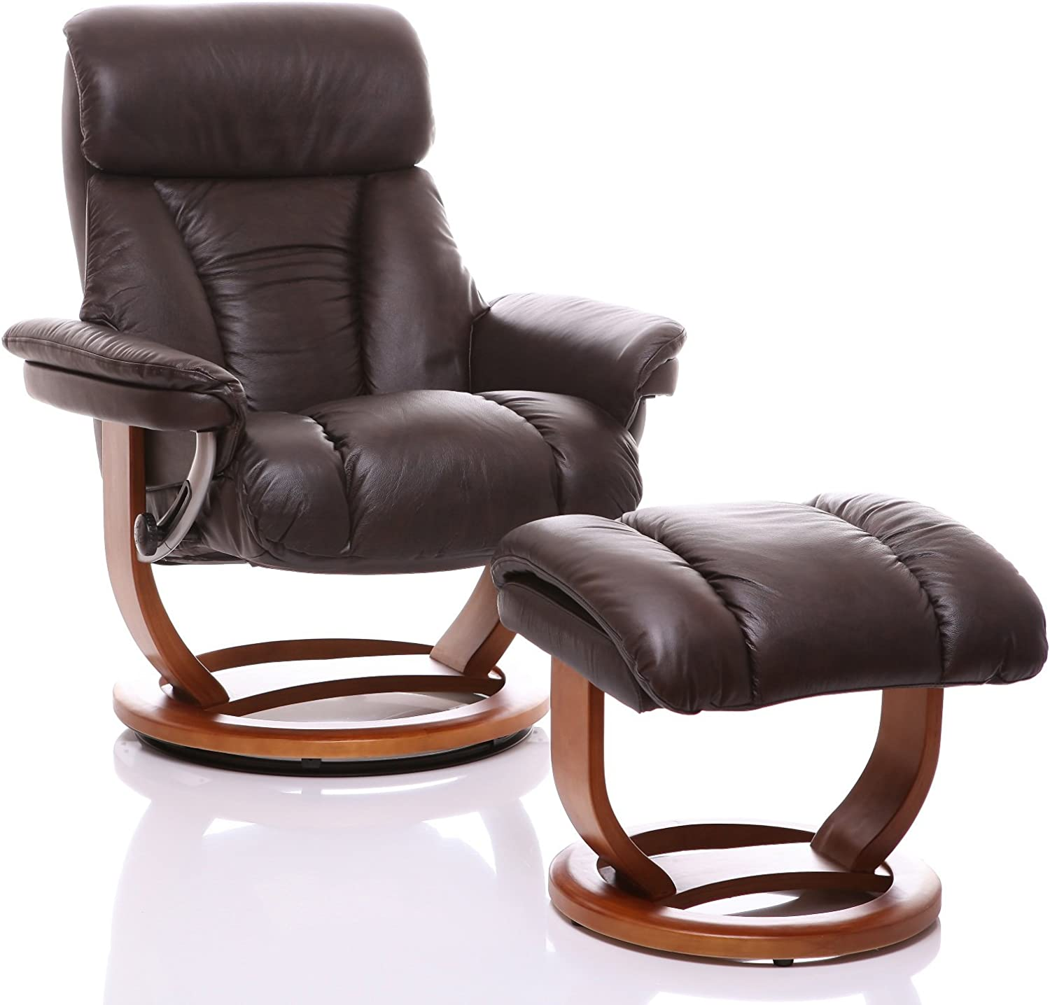 The Mars Premium Genuine Leather Swivel Recliner ChairFootstool In Chocolate