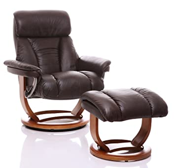 The Mars   Genuine Leather Recliner Swivel Chair U0026 Matching Footstool In  Chocolate