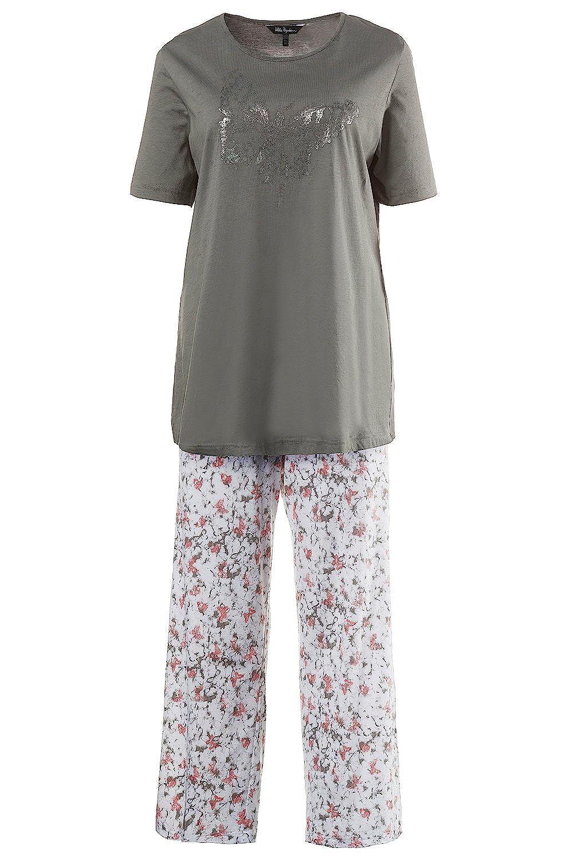 Ulla Popken Women's Plus Size Butterfly Pajamas Set 703267