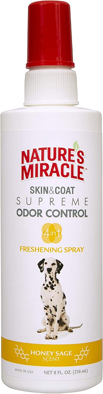 Nature's Miracle Skin & Coat Freshening Spray For Dogs, Honey Sage Scent 8 Ounces