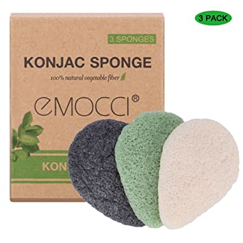 Konjac Facial Sponge Natural Make Up Face Sponges Exfoliator Activited Bamboo Charcoal Scrub Cleaning Cosmetic Puff Perfect for Sensitive Skin Pore Oil Ace Blackheads Anti-age Bathing Shower Poufs Remover with Gift Box (3Pack, Black & Green & Pink)