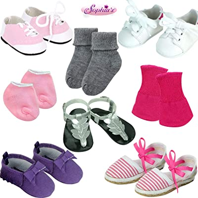 8 Piece Accessory Set of Socks and Shoes for 18 Inch Dolls | Includes Socks, Pink Saddle Oxford Shoes, White Sneakers, Metallic Sandals, Pink Espadrille and Purple Moccasins for Dolls: Toys & Games