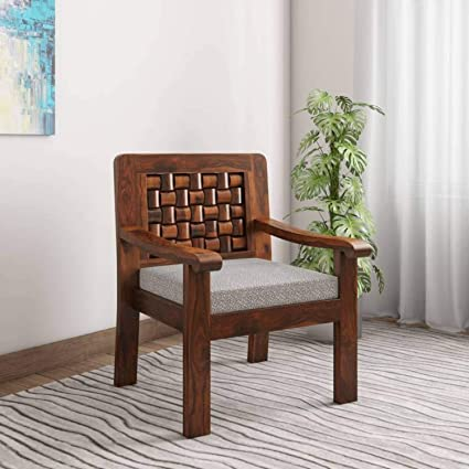 UrbanWood Sheesham Wood Arm Chair for Living Room Furniture | Wooden  Armchair with Cushion | Honey Brown Finish