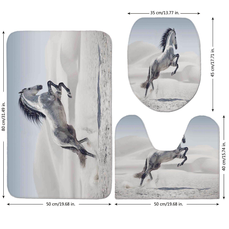 3 Piece Bathroom Mat Set,Horses,Silver-Pony-Horse-Galloping-over-Motion-Majestic-Wild-Animal-Power-and-Grace-Theme,Beige-Black.jpg,Bath Mat,Bathroom Carpet Rug,Non-Slip