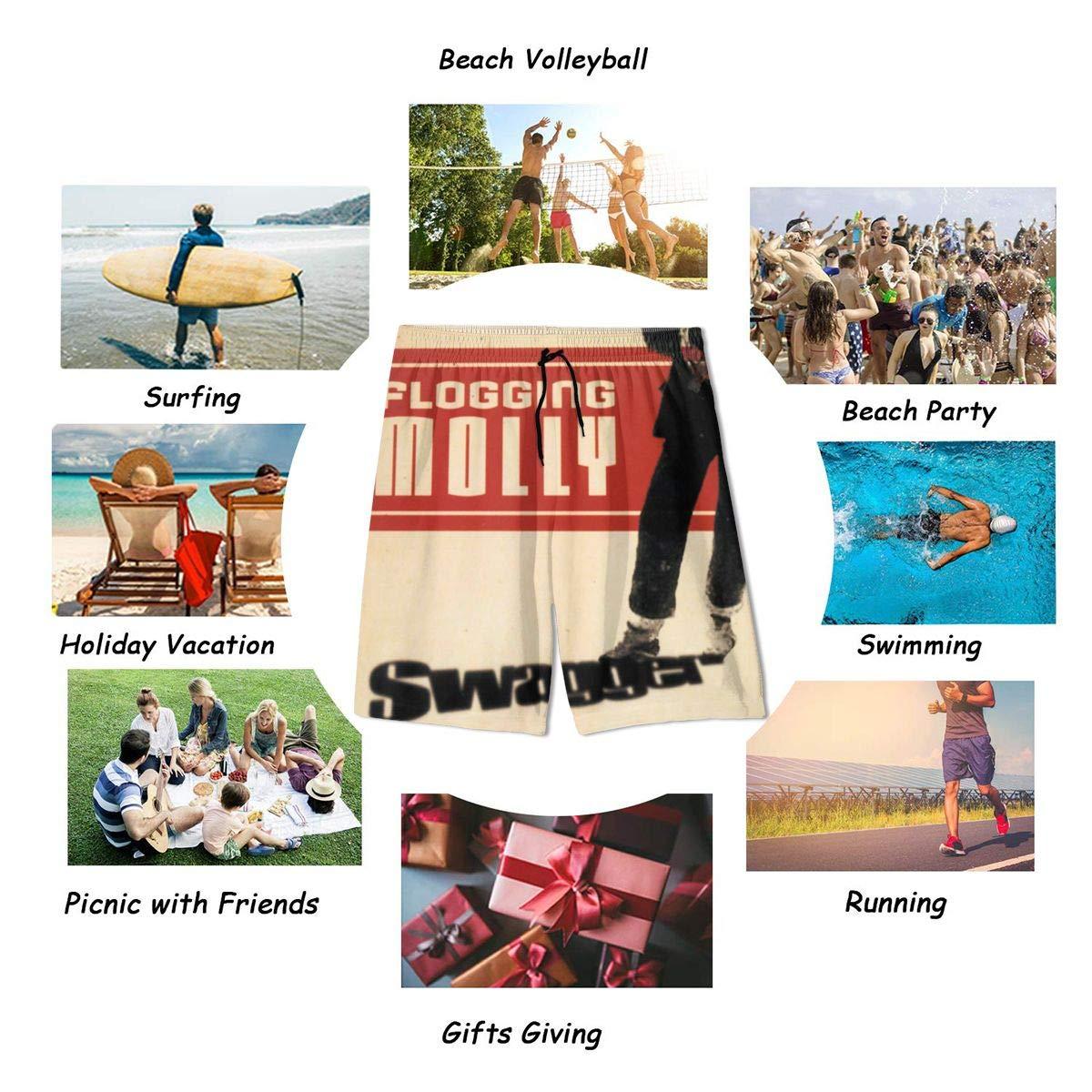 JacobKThompson Flogging Molly Summer Adolescent Men Leisure Quick Dry Surfing Beach Shorts Elastic Band Pocket Drawstring