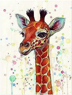 JUNERAIN Clearance, quadro su tela fumetto giraffa dipinto a olio Kid Room Wall Art Decor, 50x66cm
