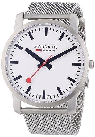 Mondaine SBB Simply Elegant 41mm A6383035016SBM Reloj de pulsera Cuarzo Hombre correa de Acero inoxidable Plateado: Amazon.es: Relojes