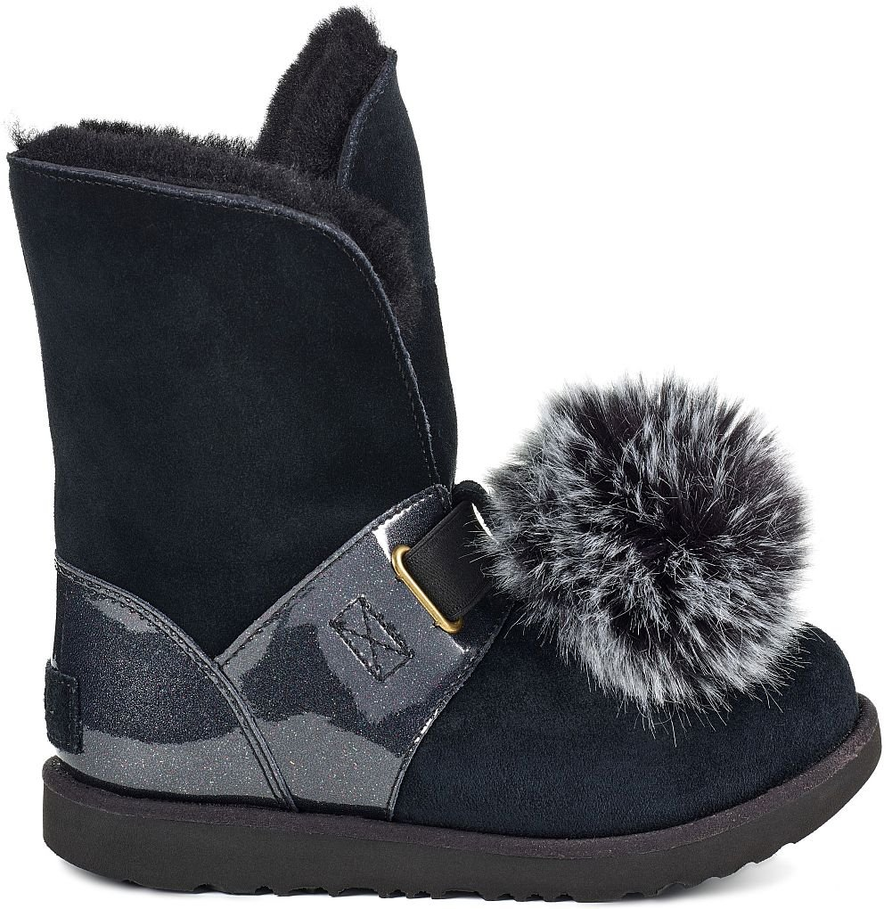 UGG Girls Isley Patent WP Boot Black Size 5 Big Kid M