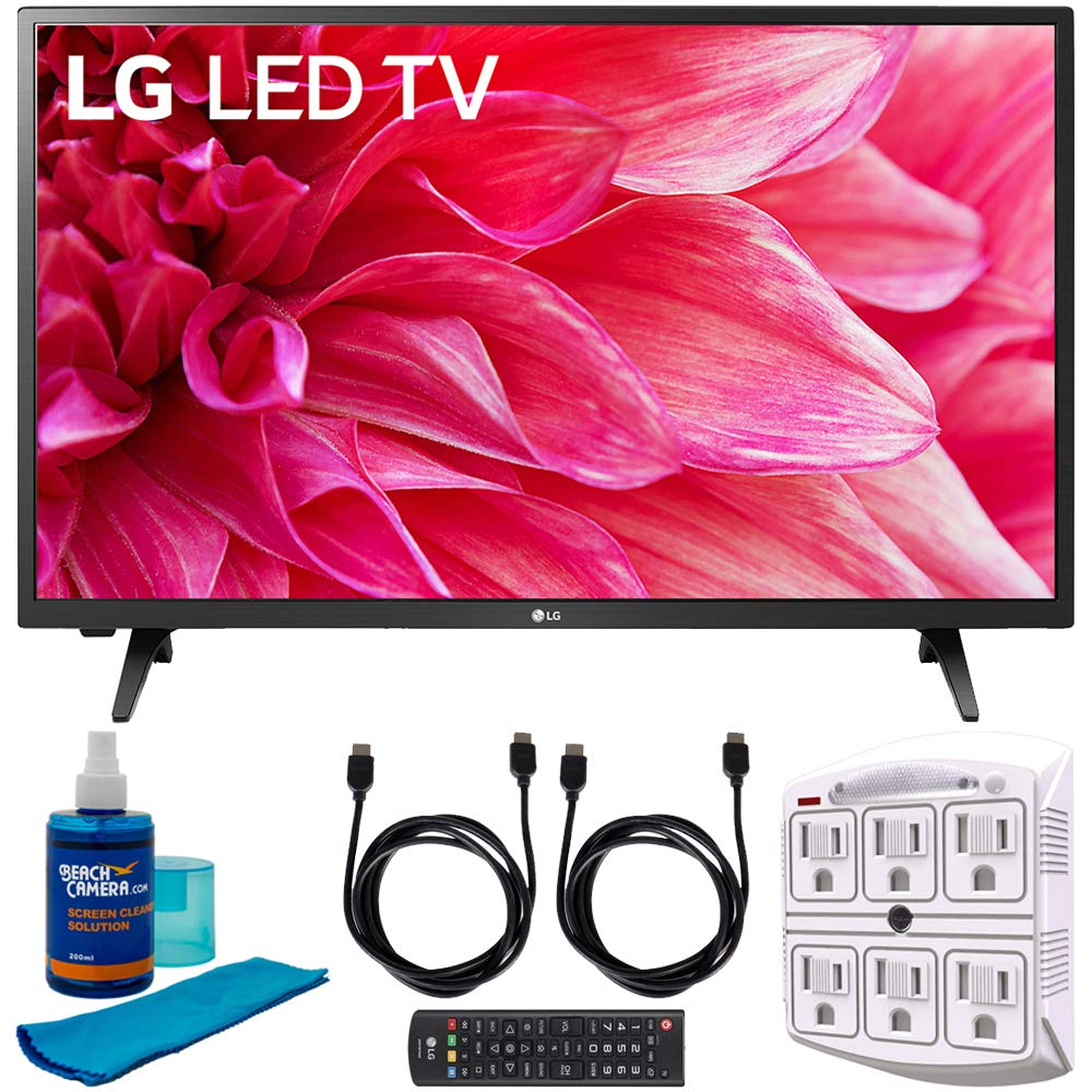 LG 32LM500BPUA 32'' LED HD 720p TV (2019) w/Accessories Bundle Includes, 2X 6ft High Speed HDMI Cable, SurgePro 6-Outlet Surge Adapter w/Night Light and Universal Screen Cleaner