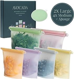 Reusable Silicone Food Storage Bags AVOCADA - 2x50oz + 4x30oz - Reusable Bags Silicone - Airtight Seal Food Preservation Bag for Fruit, Vegetable, Snack, Sandwich - Freezer, Microwave, Dishwasher Safe