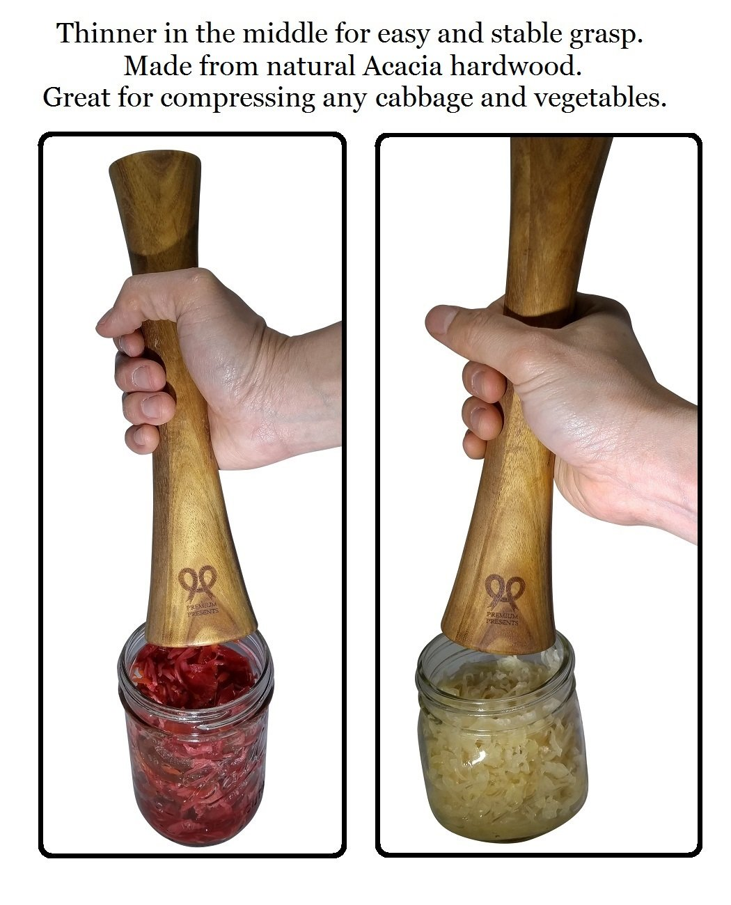 Sauerkraut Pounder. Acacia wood tamper for vegetable fermentation. Fit wide mouth and regular mouth mason jars, canning jars, fido jars, and ceramic crocks. Premium Present brand. by PremiumPresents (Image #2)