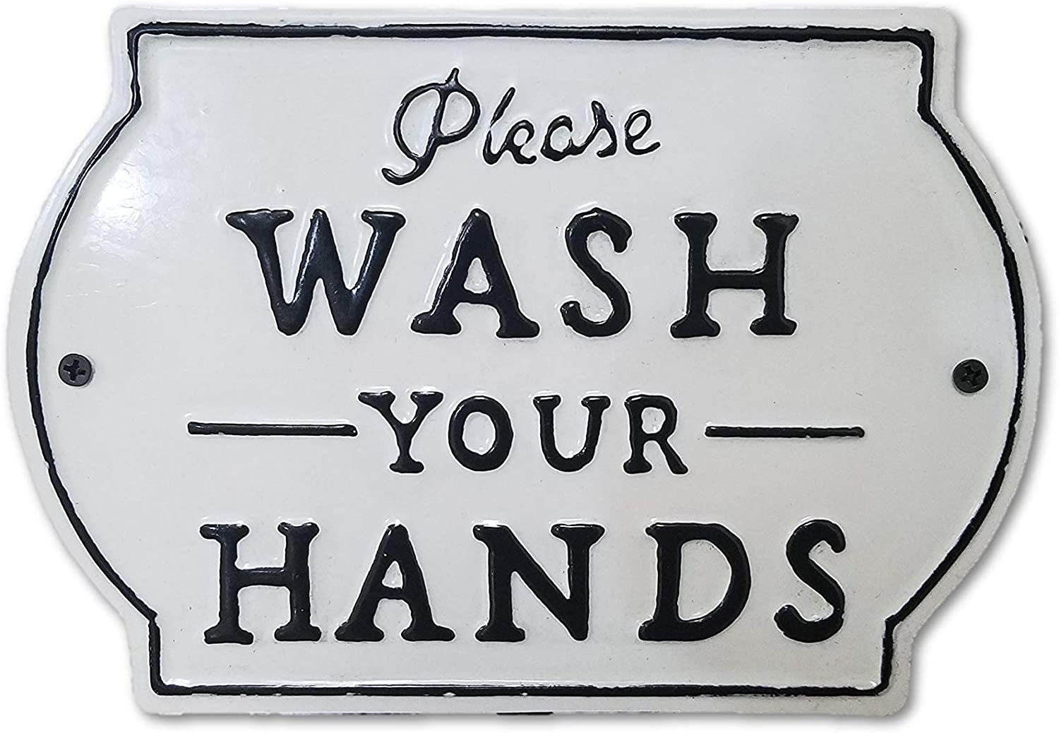 "THE NIFTY NOOK ""Please Wash Your Hands Vintage Metal Farmhouse Sign for Bathroom & Kitchen Décor 8.5"" x 6"" (Small White)"