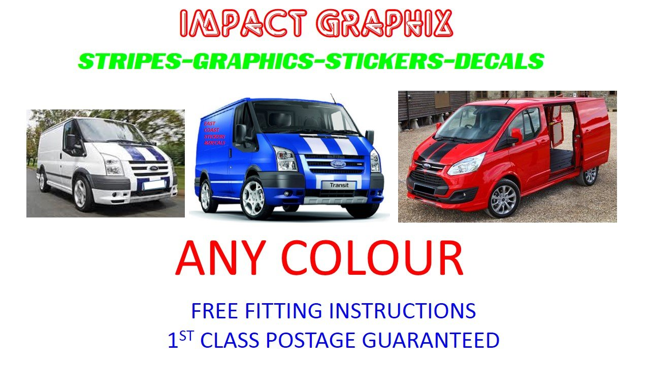 Ford transit custom connect van st stripes car fiesta graphics sticker decal free pp amazon co uk car motorbike