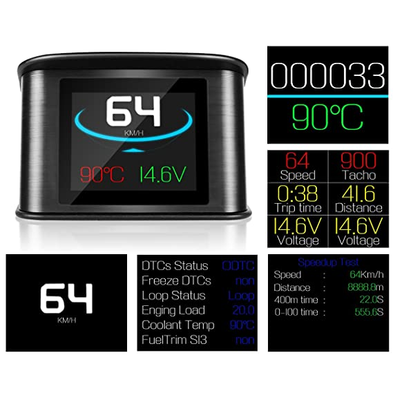 LeaningTech P10/auto HUD Head Up display digitale intelligente tachimetro con OBD2//EUOBD Port LCD Display OBD 2/scanner strumento diagnostico velocit/à allarme