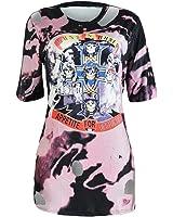 DaveDu furos padrão de caracteres de impressão mulheres de manga curta mini vestidos o pescoço bodycon