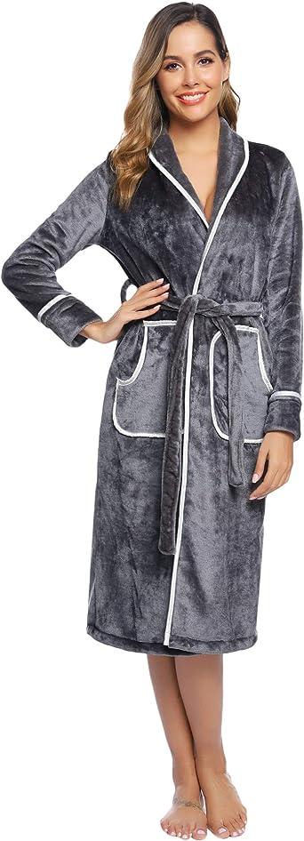 Hawiton Albornoces Mujer Invierno Polar de Mangas Larga Albornoz de Baño para Mujer Bata Baño Franela con Cinturón: Amazon.es: Ropa y accesorios