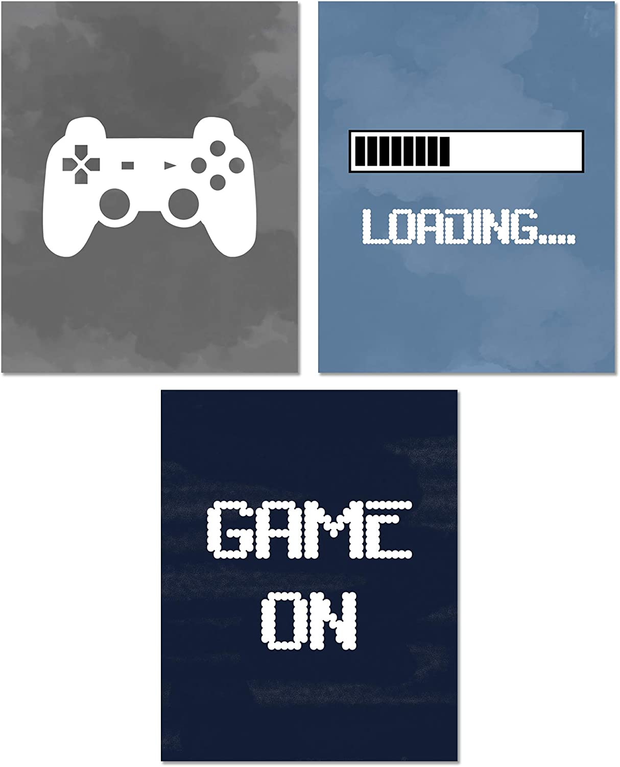 Video Game Posters - Funny Quotes Gaming Wall Art - Set of 3 Unframed (8x10 inches) Gamer Themed Decor Prints - For Boy Bedroom Decorations, Gifts, and Birthday Party - Set 2