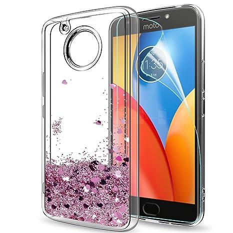 LeYi Funda Motorola Moto E4 Plus Silicona Purpurina Carcasa con HD Protectores de Pantalla,Transparente