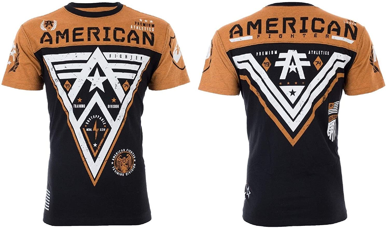 American Fighter Mens T-Shirt Midway Athletic Black Burnt Orange Gym MMA UFC