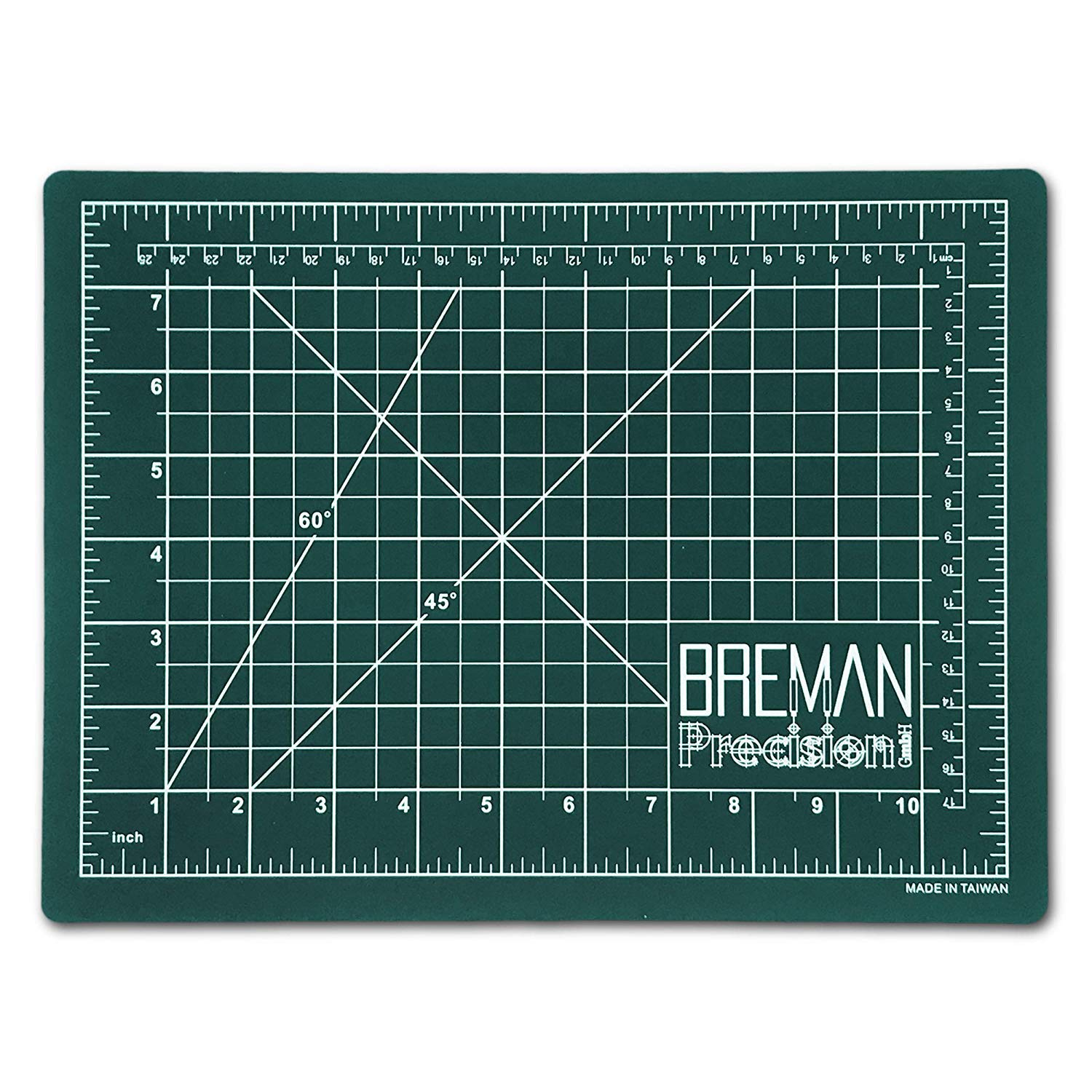 Breman Precision Self Healing Cutting Mat | Sewing Craft Quilting Fabric Rotary Cutting Mat for Crafters Hobbyists Artists | 2-Sided 5-Ply PVC Craft Mat with Grid Lines, Black/Green Sides (A2,18x24in)