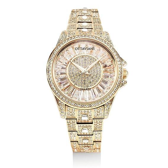 Reloj Ottaviani Mujer Solo Tiempo con cristales blancos: Amazon.es: Relojes