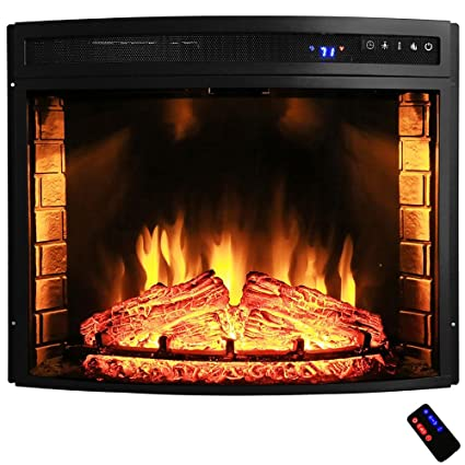 Freestanding Electric Fireplace Insert Heater In Black With Curved Tempered  Glass And Remote