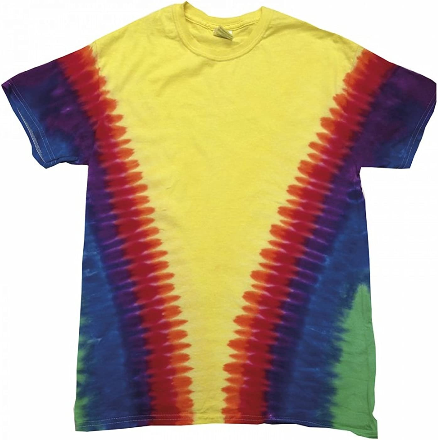 Colortone - Camiseta psicodélica Modelo Cremallera de Manga Corta para Adultos Uninex 100% Algodón- Verano Hippie (Extra Grande (XL)) (Arcoíris Vee): Amazon.es: Ropa y accesorios