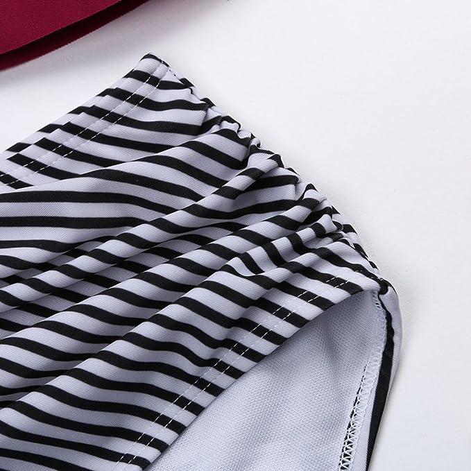 DEELIN Conjunto De Bikini De Rayas Sexy Halter De Las Mujeres Espesar Sujetador Traje De BañO Rojo Negro: Amazon.es: Ropa y accesorios