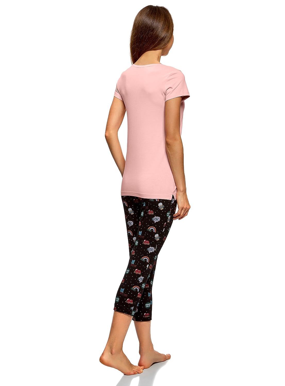 oodji Ultra Mujer Pijama de Algodón con Pantalones Piratas Estampados: Amazon.es: Ropa y accesorios