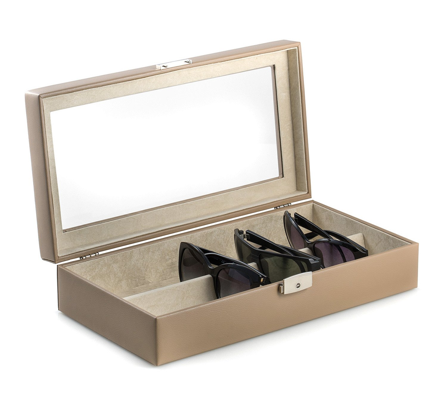Eyeglass Cases - ''St Regis'' Eyeglass Case - Taupe Leather - Glass Case - Vision Care