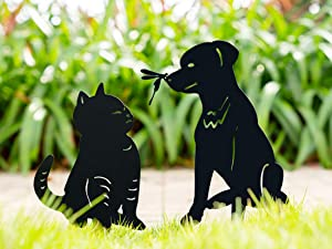 Metal Cat Decorative Garden Stakes - Black Cat Garden Statues and Labrador Dog Ornament Backyard Decorations for Outside