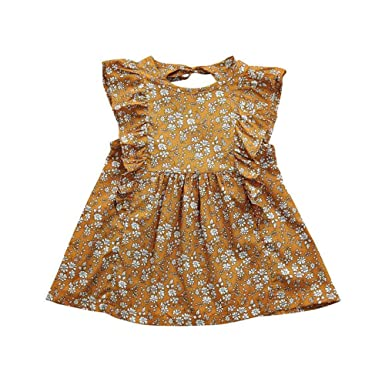 9407217d7c84 Amazon.com  YOUNGER TREE Toddler Baby Girls Fly Sleeve Floral Dress Kids  Girl Spring Summer Clothing  Clothing