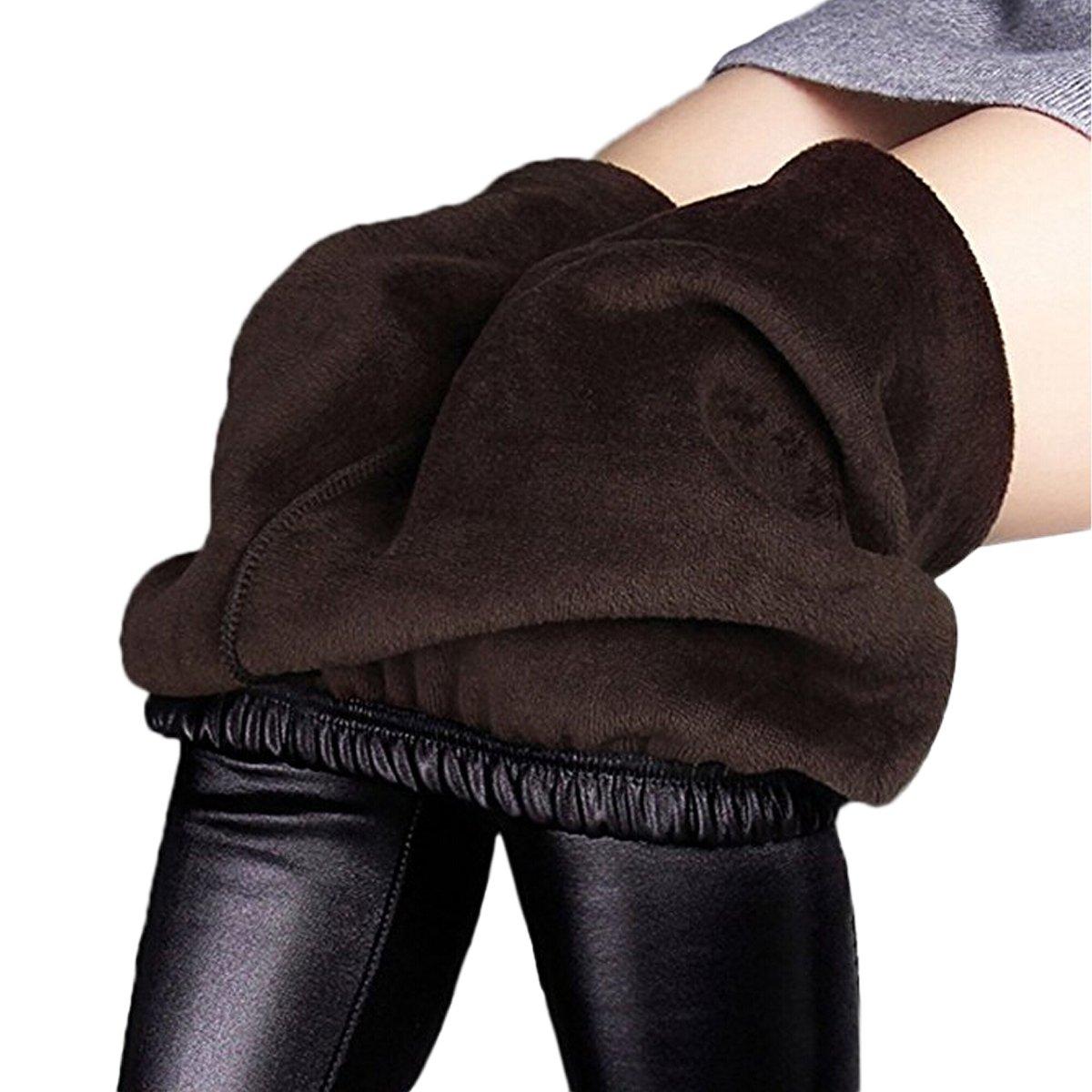 Womtop Women Leggings Pants Winter Warm Velvet Faux Leather Stretch Junior Outwear Trousers (Black, S)