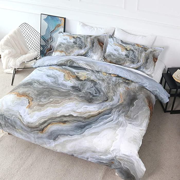 BlessLiving Marble Design Duvet Cover Set 3 Piece Abstract Stone Nature Art Bed Set Zipper Closure Hypoallergenic Ultra Soft 3 Pieces Comforter Cover Sets (Blue Grey and Gold,Queen)
