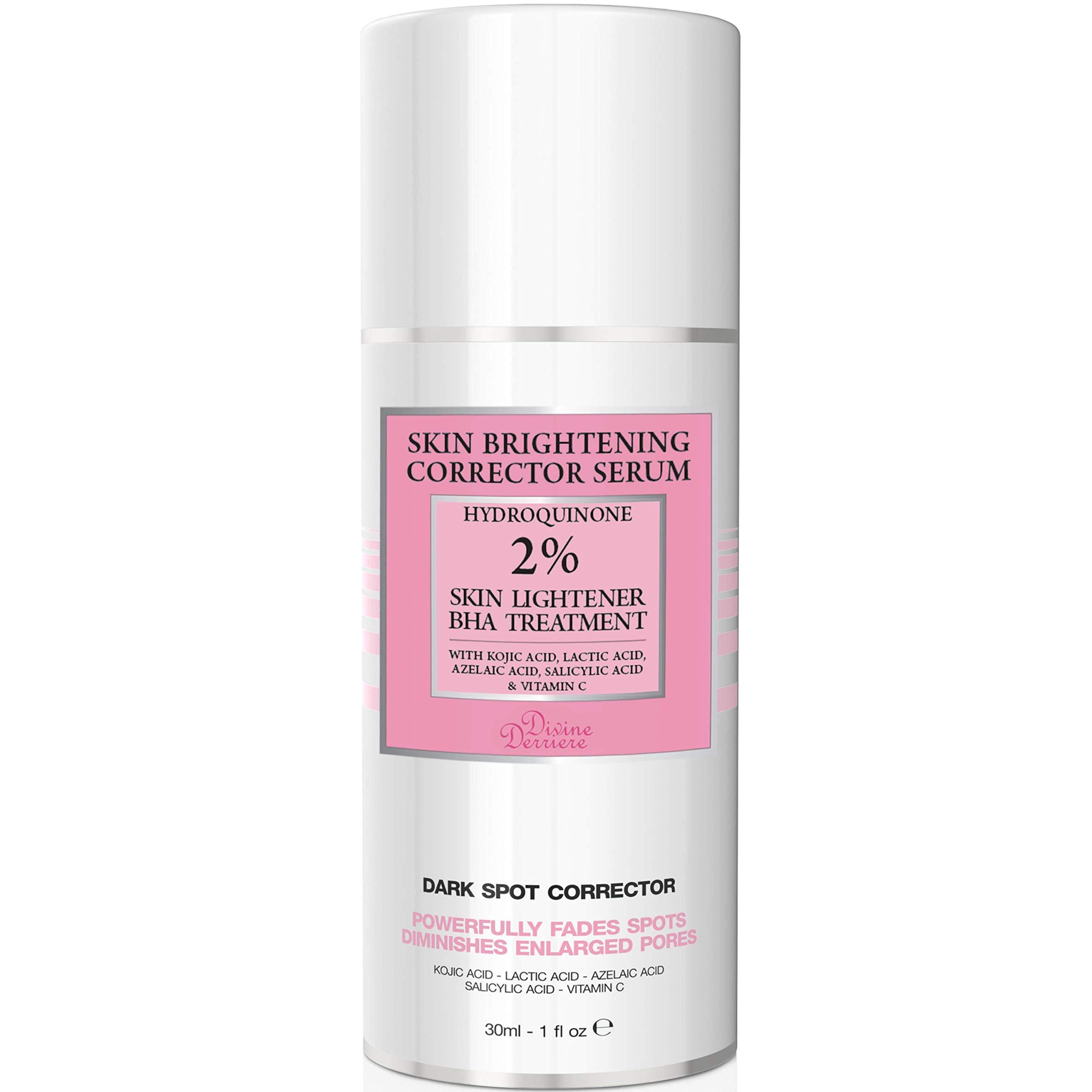 2% Hydroquinone Dark Spot Corrector Remover For Face & Melasma Treatment Fade Cream - Contains Vitamin C, Salicylic Acid, Kojic Acid, Azelaic Acid and Lactic Acid Peel 1 oz